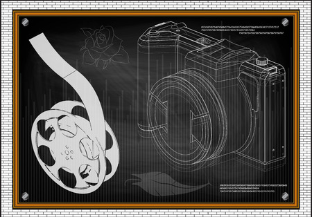 3d model of the camera and film on blackboard. Drawing Illustration