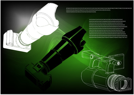 3d model of the camera on a green background. Drawing