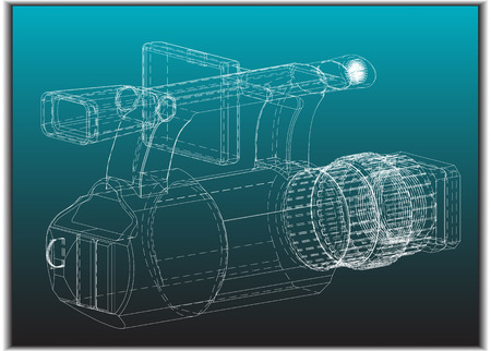 3d model of the camera on a turquoise background. Drawing