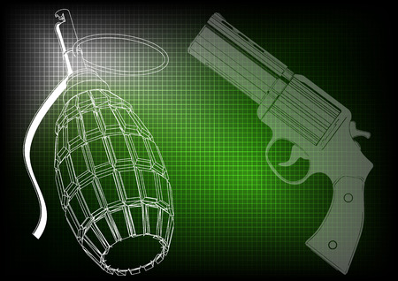 grenade and pistols on a green background Illustration
