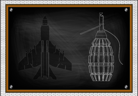 Military aircraft and a grenade on a black background Illustration