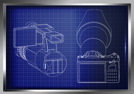 3d model of the camera on a blue background Drawing. Illustration