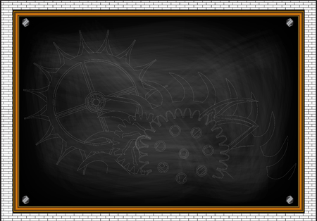 Tandraderen op een zwarte achtergrond. Tekening op 3D-model. Stockfoto - 95985663