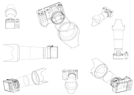 3d model of the camera on a white background. Drawing Stock Illustratie