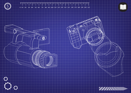3d model of the camera on a blue background.
