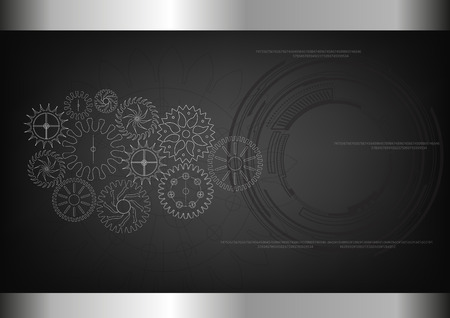 White cogwheels on a black background. Drawing.