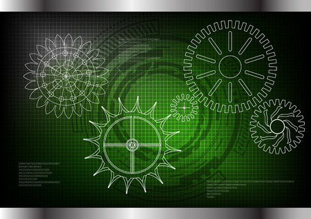 white cogwheels on a green background. Drawing.
