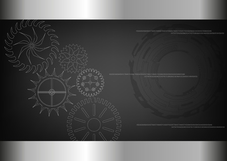 White cogwheels on a black background.. Stock Illustratie