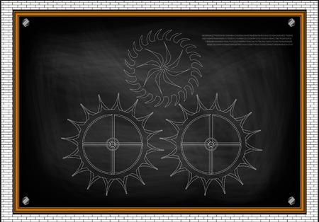 White cogwheels on a black background. Stock Illustratie