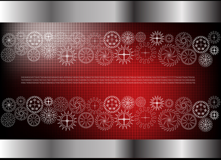 white cogwheels on a red background. Drawing.