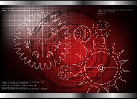 witte tandraderen op een rode achtergrond. Tekening. Stock Illustratie