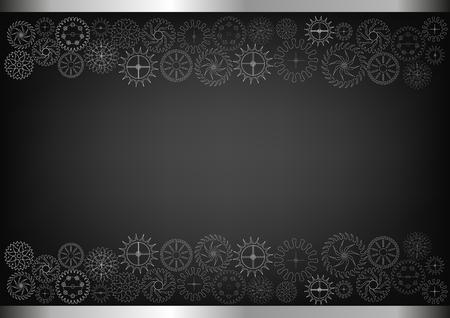 Witte tandraderen op een zwarte achtergrond. Tekening illustratie. Stock Illustratie
