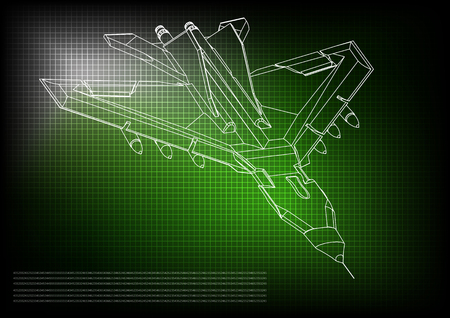 3d model of a fighter on a green background. Drawing
