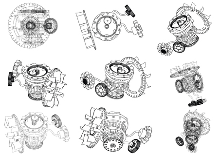 gear mechanism on white background, vector image Stock Illustratie