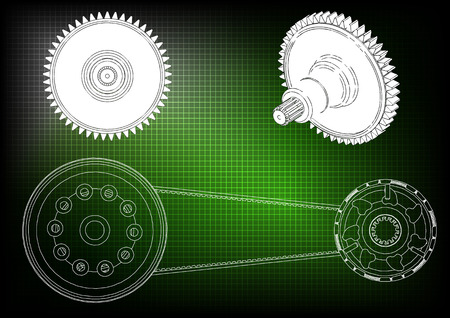 Belt gear on a green background, vector image