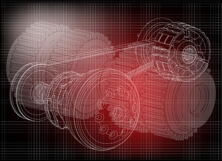 Belt gear on a dark background vector image illustration
