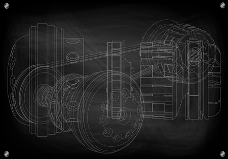 Belt gear on a black background, vector image