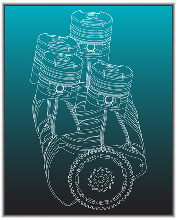 The car engine on a turquoise background.