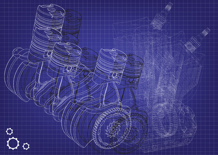 Machine building drawing the car engine on a blue background vector illustration