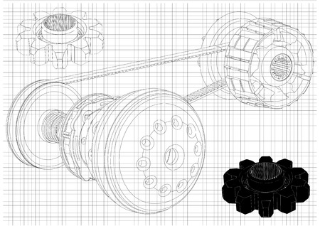 Sketch belt gear isolated vector image illustration Çizim