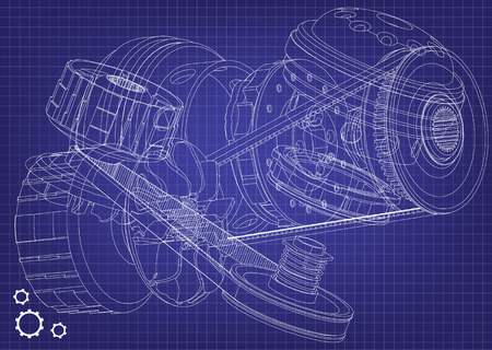Belt gear on a blue background, vector image isolated on plain purple background