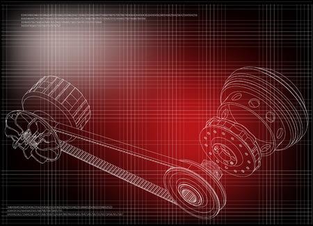 Belt gear on a red background, vector image Ilustração