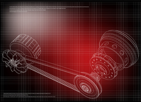 Belt gear on a red background, vector image Illustration