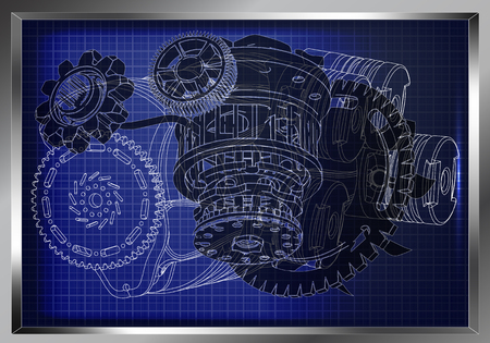 A Machine building drawing. The car engine on a blue background.