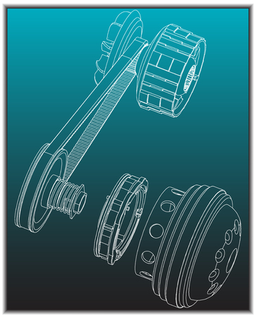 Belt gear on a turquoise background, vector image