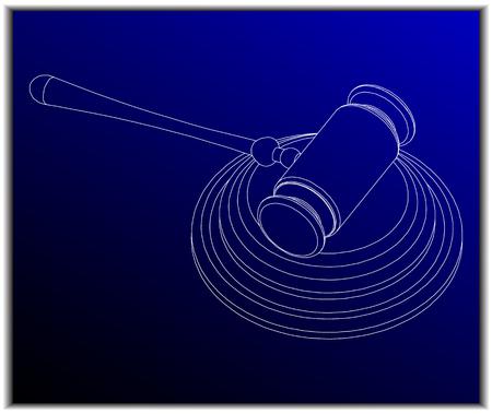 hammer of the judge on a blue background Illustration
