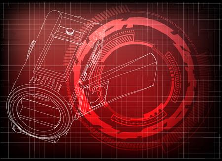 Camera on red background. Drawing. 3d model Illustration