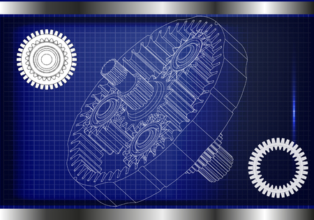 3d model of the planetary mechanism on a blue background. Gear Illustration