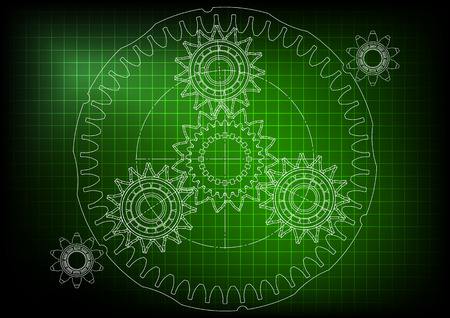 3d model of the planetary gear mechanism on a green background. Gear