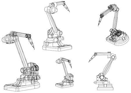 3d model of a welding robot on a white background. Drawing Illustration