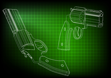 3d model of a pistol on a green background. Drawing