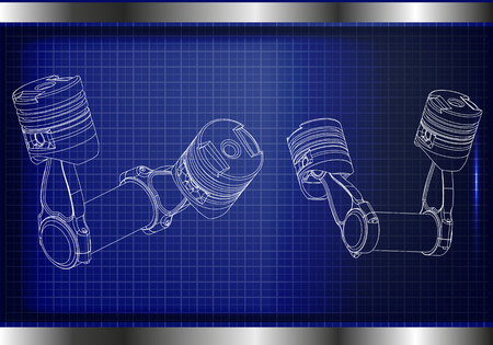 3d model of piston on blue background.
