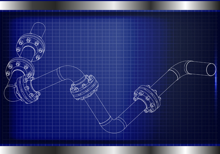 3d model of an pipeline on a blue background. Drawing Vector illustration. Ilustrace
