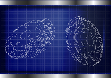 3d model of the brake disc on a blue background.