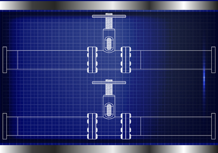 3d model of an pipeline on a blue background. Illustration