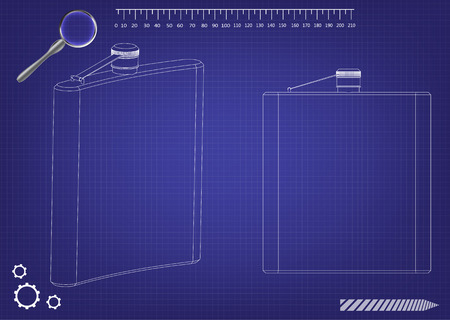 3d model of a flask for alcohol on a blue background. Drawing Vector illustration.