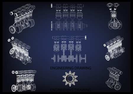 Machine building drawing. The car engine on a blue background. Vectores