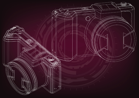 3d model of the camera on a burgundy background drawing. Illustration