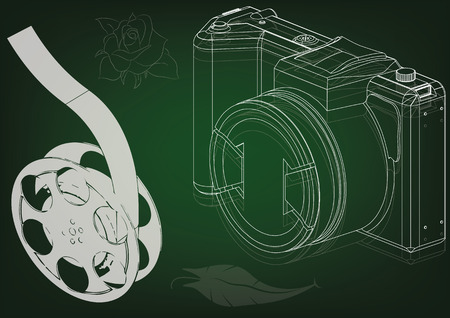 3d model of the camera and film on green. Drawing