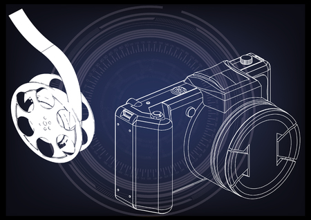 3d model of the camera and film on blue background.