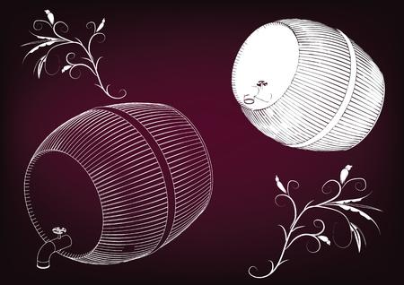 Barrel on a burgundy background. Illustration