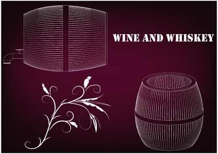 Barrel on a burgundy background. 3d model. Stock Illustratie