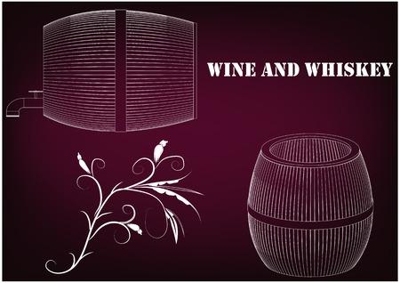 Barrel on a burgundy background. 3d model. Vectores