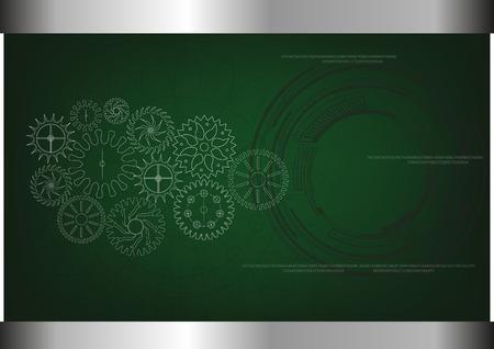 witte tandwielen op een groene achtergrond. Tekening.