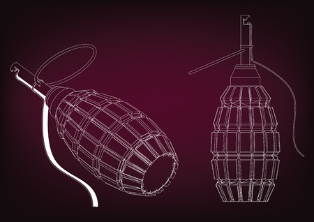 3d model of a grenade on a burgundy background.