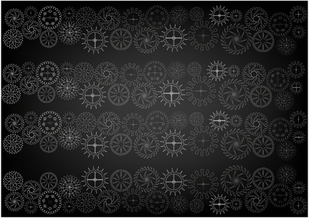 White cogwheels on a black background. Drawing illustration.